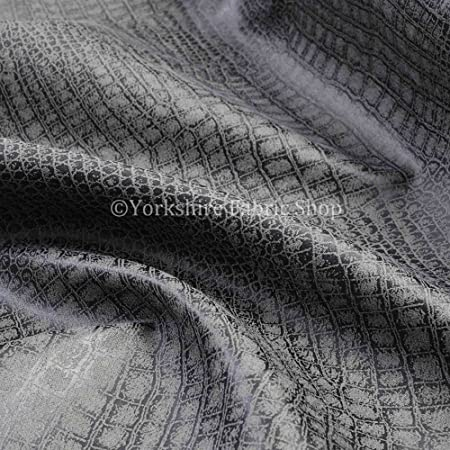 Alligator Pattern Designer Faux Suede Leathertte Material Upholstery Fabric Grey