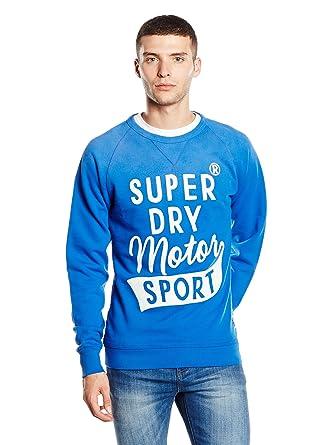 Superdry Worn Wash Crew Neck Sweatshirt in Royal Blue
