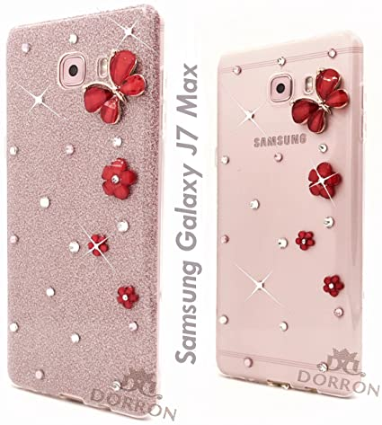 huge selection of b12b8 7a6c6 DORRON Butterfly Bling Rhinestones Glitter TPU Back Cover for Samsung  Galaxy J7Max (Rose Gold)