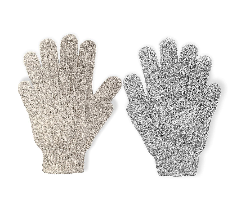 Exfoliating Bath Gloves Shower Exfoliation Nylon Mesh Gloves Bath Spa Exfoliating Scrubber, Bathing Glove Mitt Scrubs Away Dead Skin Cells and Improve Blood Circulation 2 Pairs by KRRAMEL