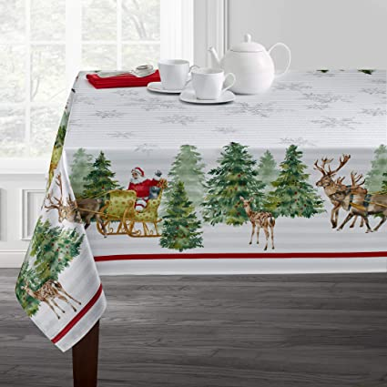 "Benson Mills Printed Christmas Tablecloth (60"" X 104"" Rectangular, Santa's Sleigh) best Christmas tablecloths"