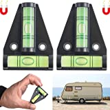 Magnetisk T-spiritnivå, paket med 2, praktisk liten korsandningsnivå för husbil, vit magnet, mobilhem, tvåvägs andel…