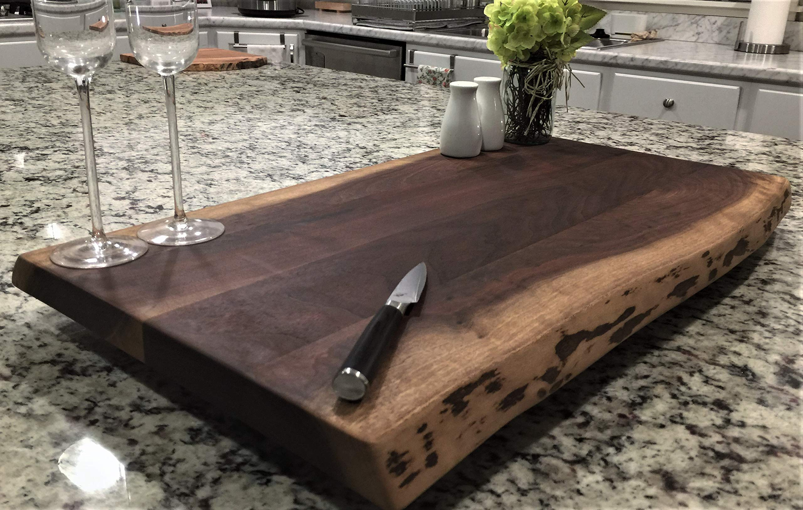 Black Walnut Large, Gorgeous, Full-of-Character, Forest-to-Table Solid Double Live Edge Wood Charcuterie/Appetizer/Dessert/Grazing/Serving Board. 100% USA Handcrafted. 27 x 15 x 1.25''