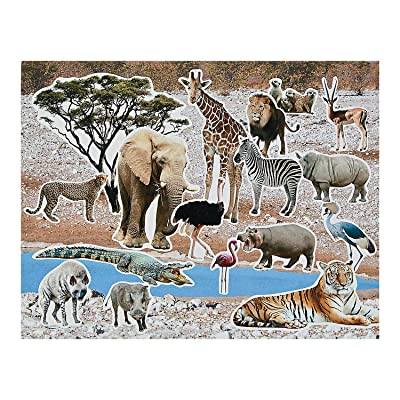 Fun Express Safari Realistic Sticker Scene - 12 Pieces - Educational and Learning Activities for Kids: Toys & Games