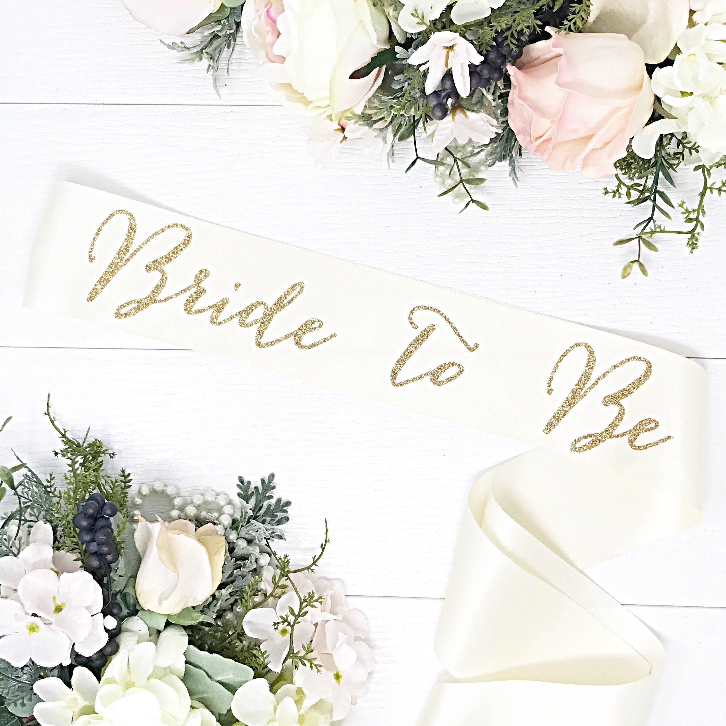 Bachelorette Sash - Ivory Satin Sash- Gold''Bride To Be''