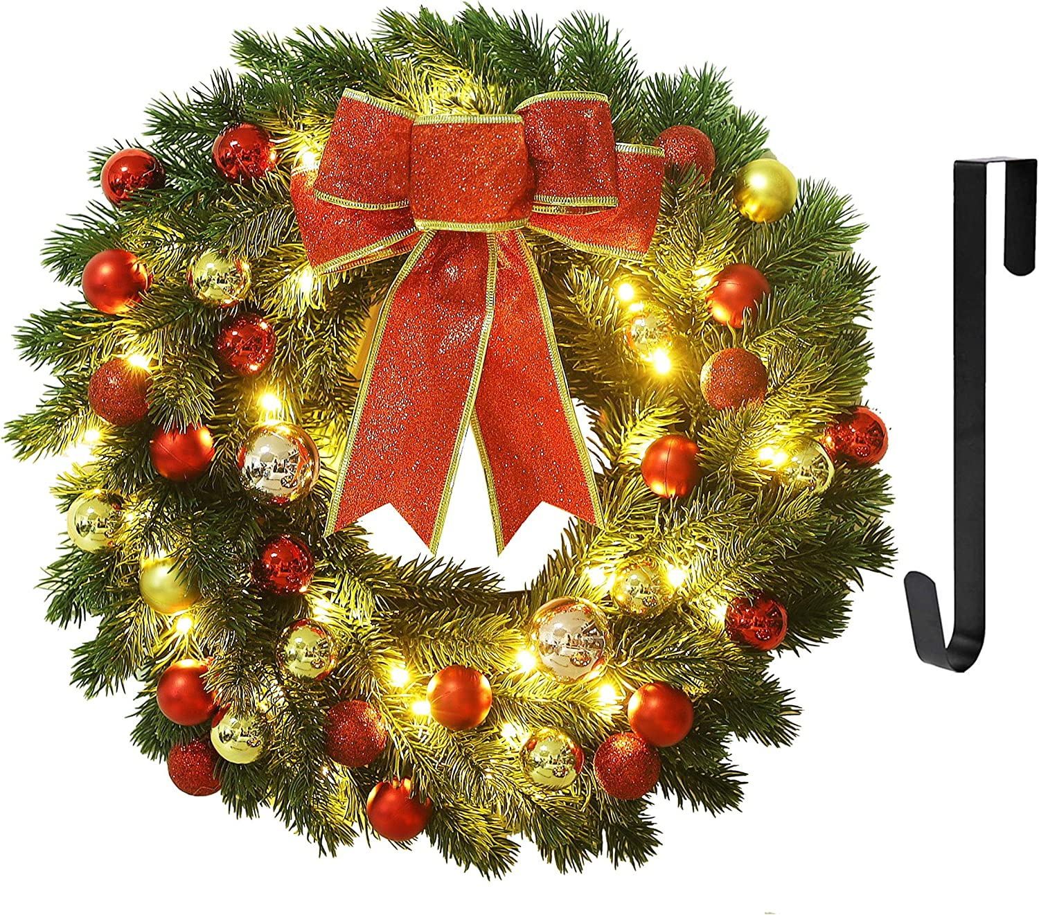 Juegoal 16 Inch Pre-Lit Christmas Wreath with Metal Hanger, Large Red Bow and Colored Balls, Battery Operated with Warm White 40 LEDs Lights, Front Door Spruce Lighted Wreath X-max Decorations