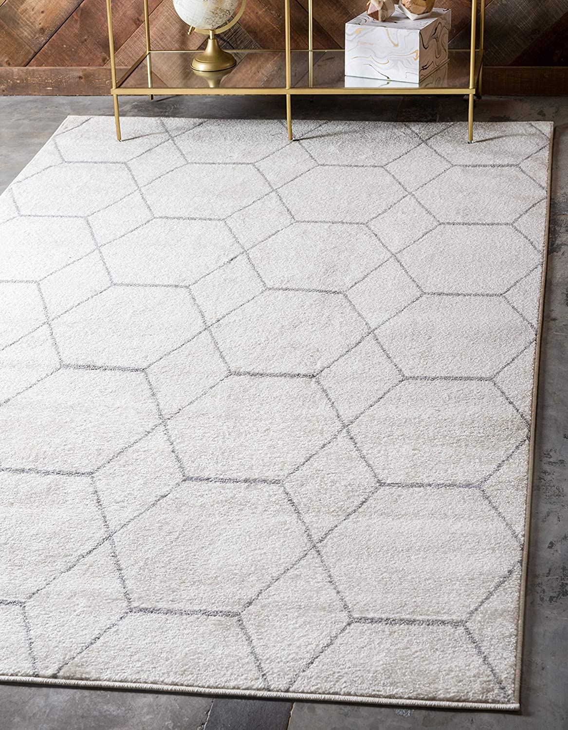 Unique Loom Trellis Frieze Collection Lattice Moroccan Geometric Modern Ivory Area Rug (4' 0 x 6' 0)