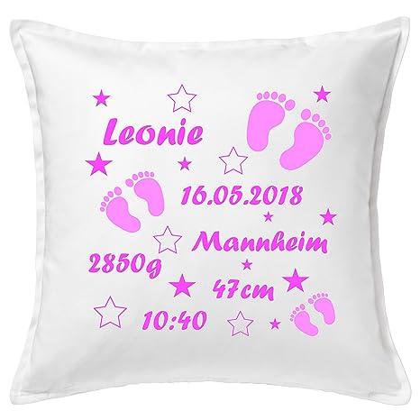 Cojín para bebé con nombre y fechas de nacimiento, diseño de ...