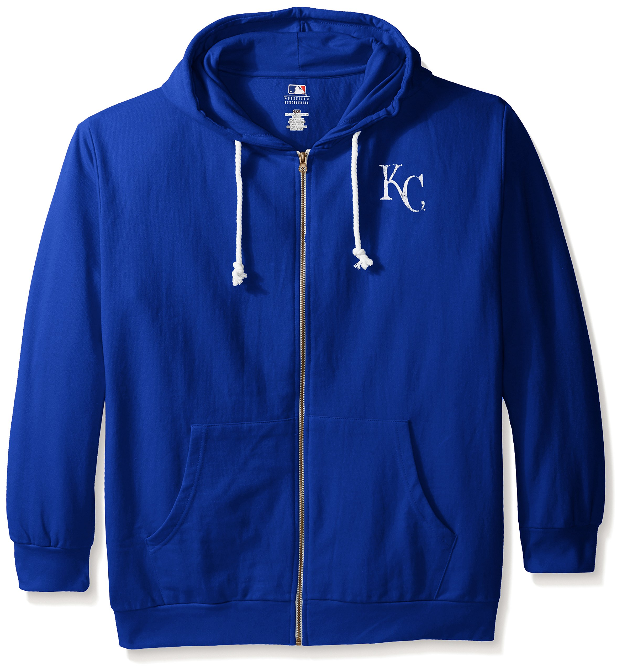 MLB Kansas City Royals Women's Plus Size Zip Hood with Logo, 1X, Royal