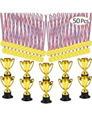 FEPITO 50 Pcs Trophies Medals Set,10 Pcs Gold Plastic Trophy Cup and 40 Pcs Winner Gold Medals for Kid Party Sports Awards
