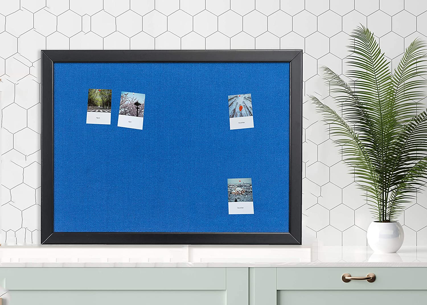 Bulletin Board 36 x 48 Inch 100/% Wood Framed Canvas Cork Board with Grey Fabric Wall Mounted Notice Board for Home Office School