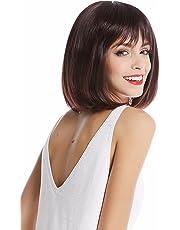 WIG ME UP ® - YZF-4366-2/33 Peluca mujer pelo liso largo mediano peinado Longbob raya de medio color mezclado marrón-mahagoni