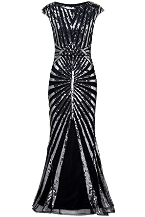 BABEYOND Women s 1920s Vintage Long Sequined Evening Dress Roaring 20s Flapper  Gatsby Dress for Costume Party dbc759588a34
