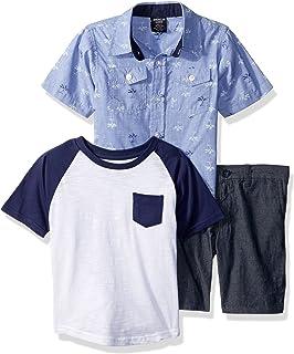 American Hawk Boys Palm Tree Printed Woven, T-Shirt Or Creeper, and Short Pants Set