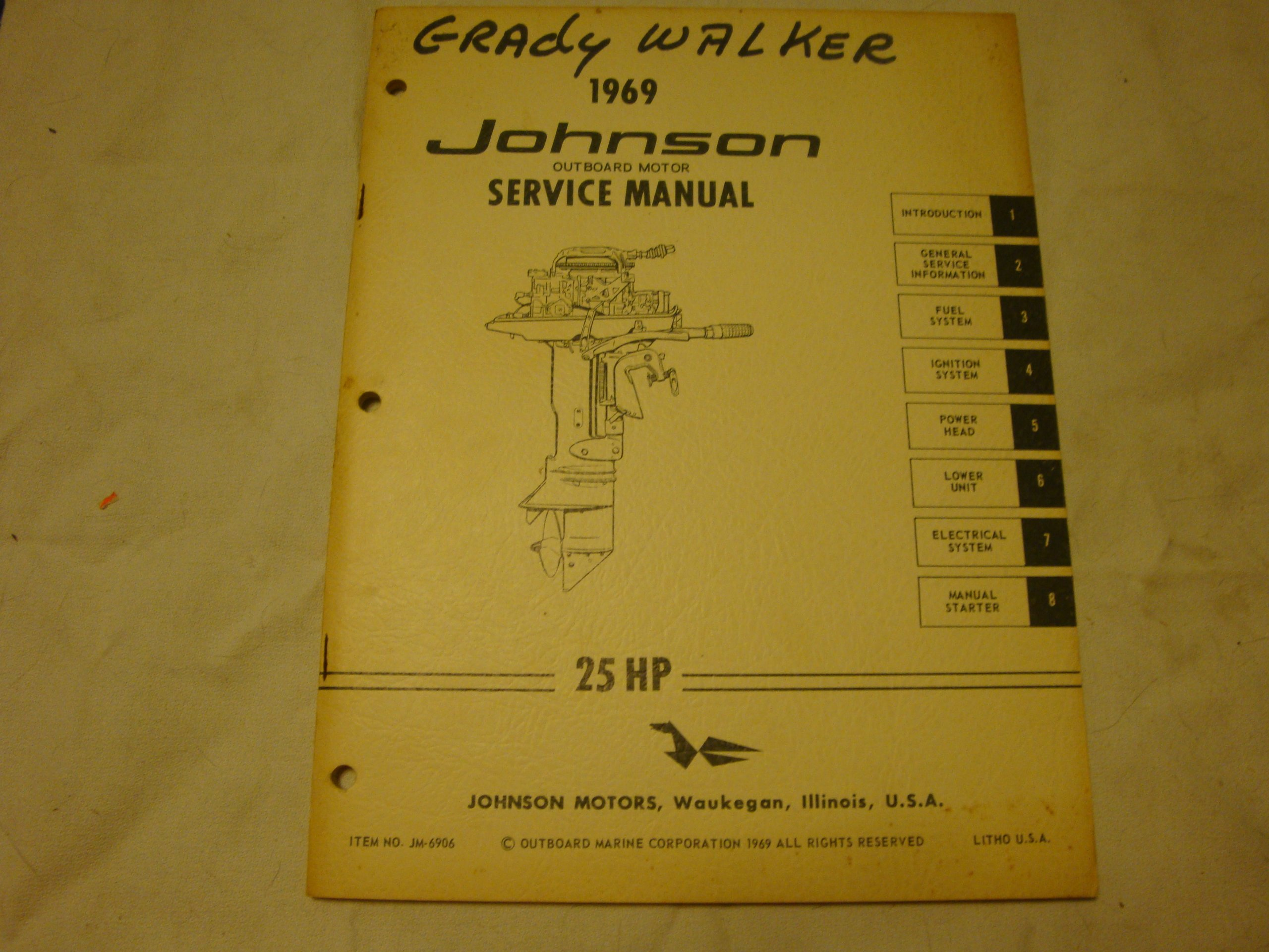 1969 johnson outboard motor service manual 25 hp staple bound – 1969