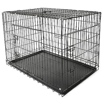 TRESKO® Jaula de Transporte Plegable para Perros (XL 105 x 71 x 78 cm