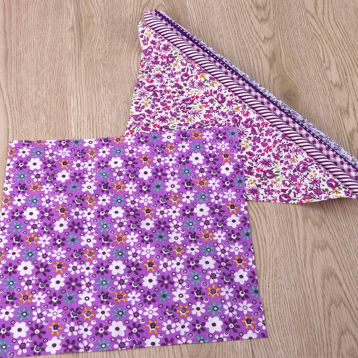 morado 6pcs cuadrados Bundle rosenice Floral algod/ón tela hoja costura Craft DIY gamuza de Patchwork