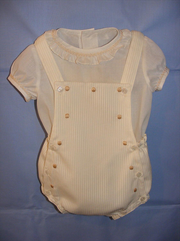 Conjunto de ranita de piqué crudo y camisa de batista: Amazon.es: Handmade