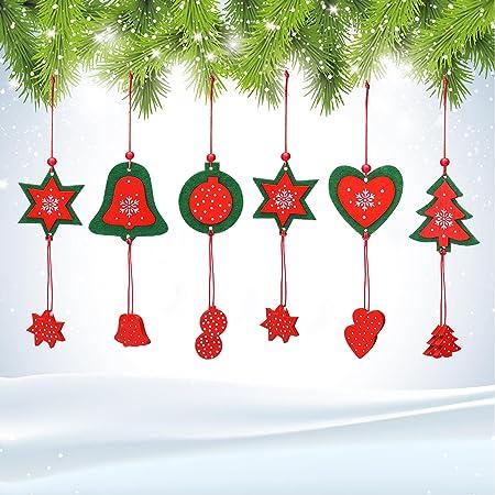 ttoyouu Pack de 12 adornos para árbol de Navidad de madera maciza ...
