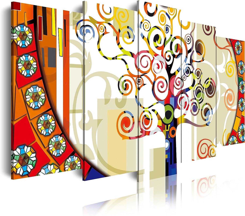 DekoArte - Cuadros Modernos Impresión de Imagen Artística Digitalizada   Lienzo Decorativo Para Tu Salón o Dormitorio   Estilo Abstracto Árbol de la Vida de Gustav Klimt   5 Piezas 150 x 80 cm
