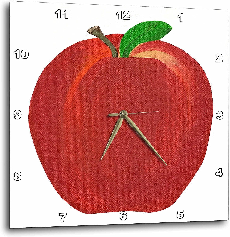 "3dRose DPP_12683_3 Red Apple Wall Clock, 15 by 15"""