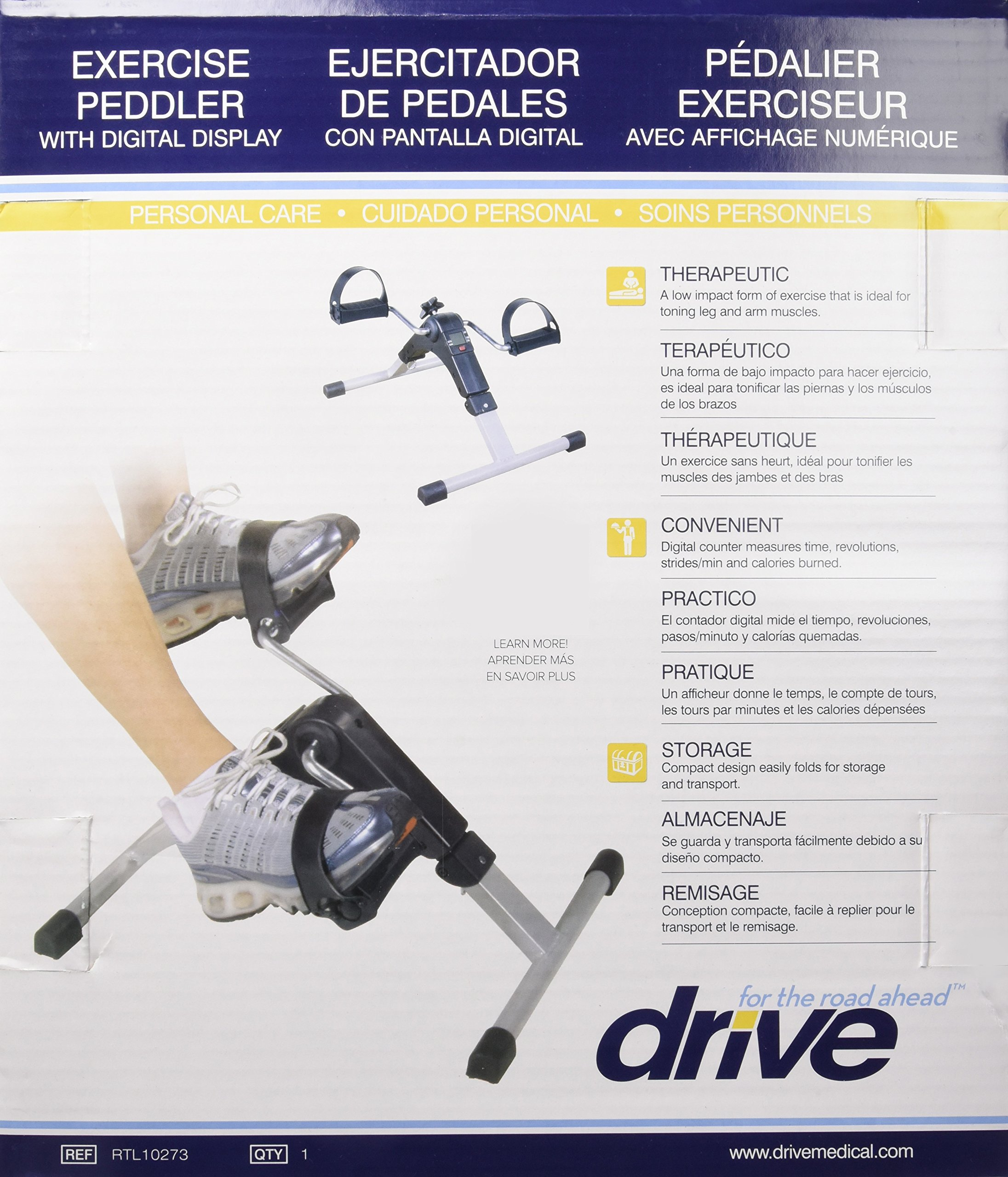 Drive Medical Deluxe Folding Exercise Peddler with Electronic Display , Black Model # RTL10273 by Drive Medical (Image #10)