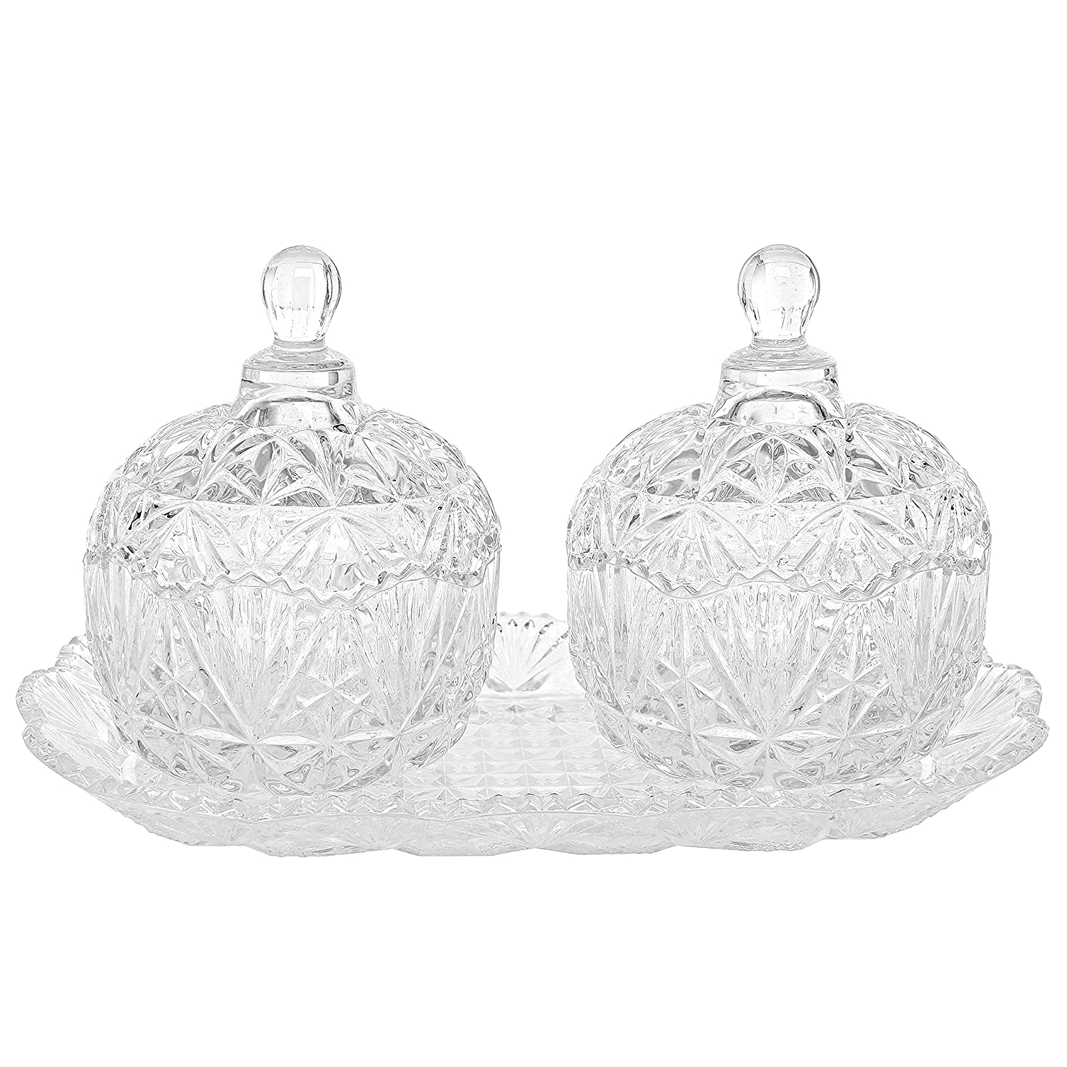 Clear Glass Crystal Design 8 oz Sugar Bowls Set & Tray / Decorative Candy Dishes, 3 Piece Set - MyGift