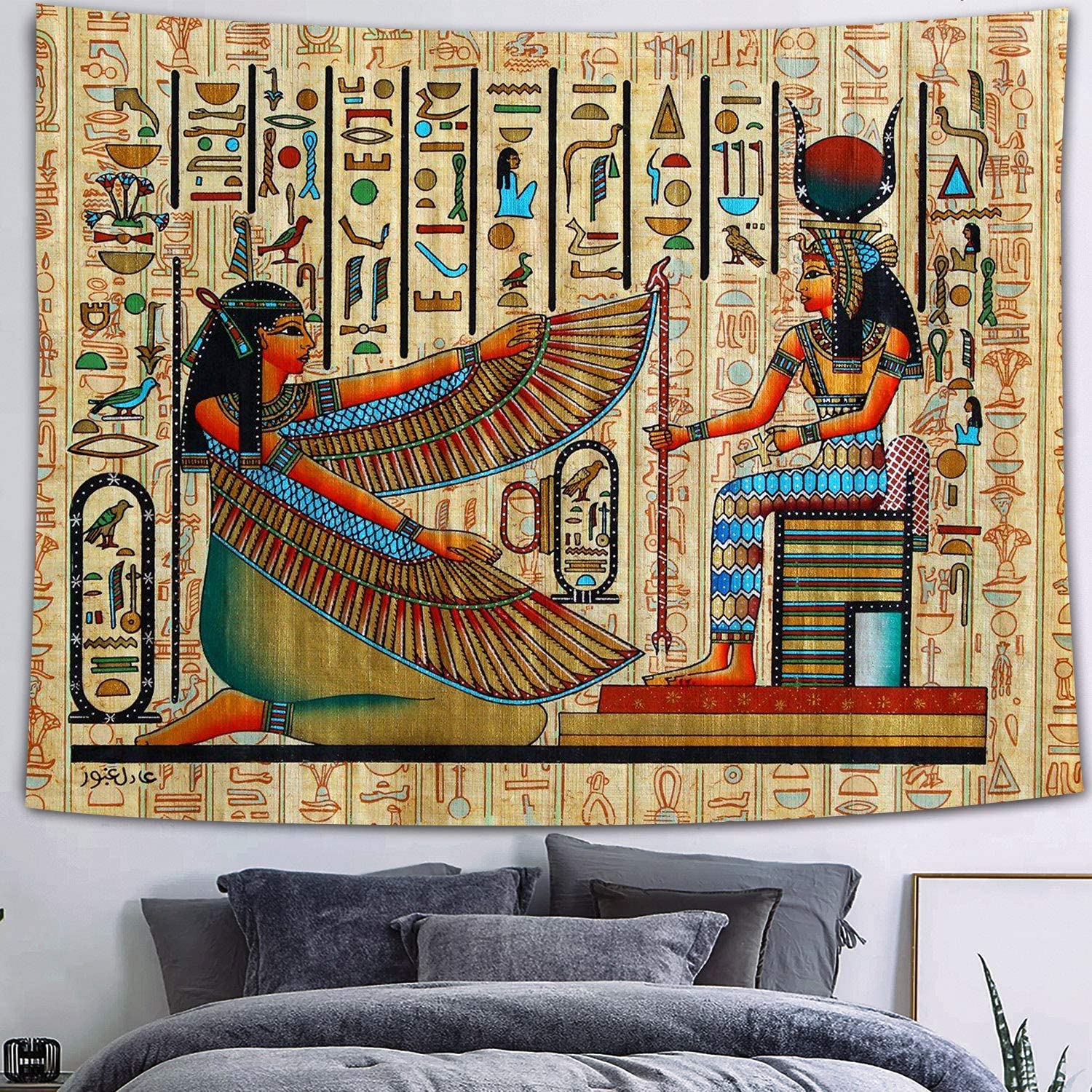 FEASRT Egyptian Gods Tapestry Ancient Hieroglyphic Tapestry Wall Hanging Tapestries for Home Bedroom Living Room Apartment Dorm Office Decor 80x60 Inches GTQQAY130