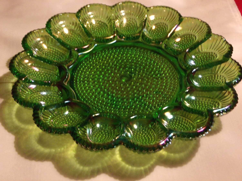 Vintage Indiana Glass Company Green Carnival Glass 15 Egg Spot & Relish Platter