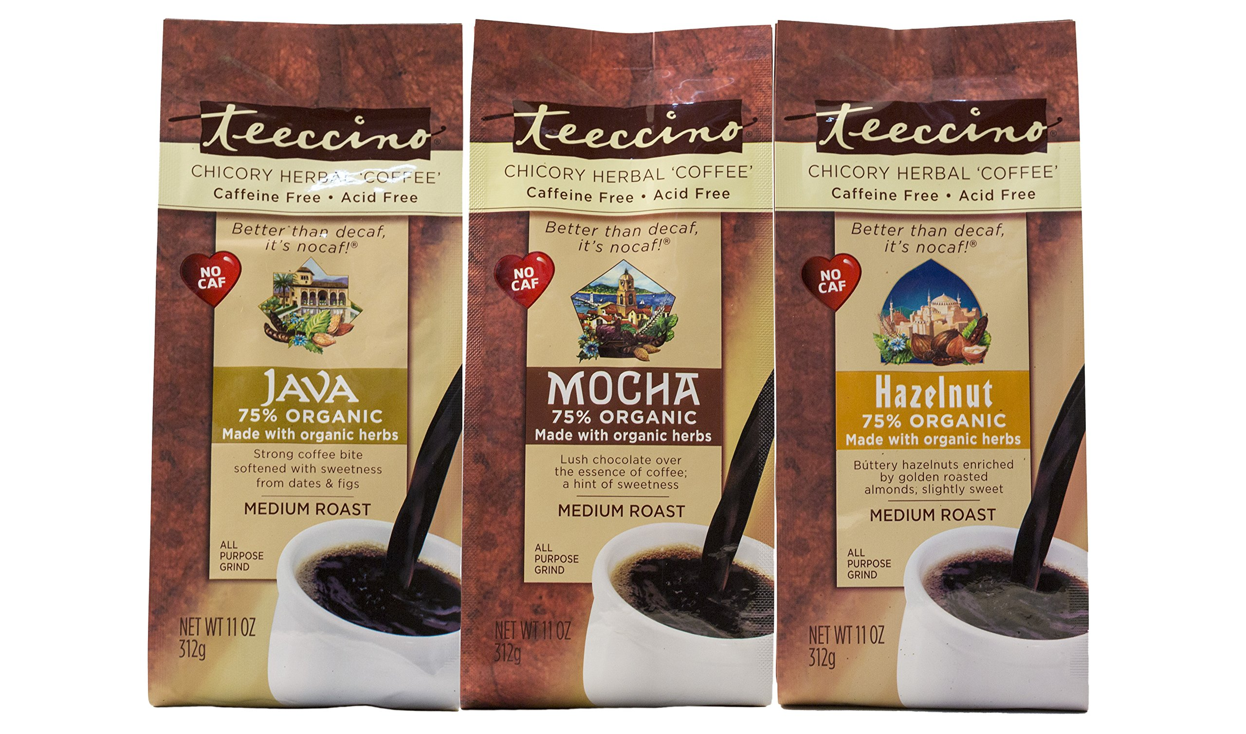 Teeccino Variety Pack (Hazelnut, Mocha, and Java) Chicory Herbal Coffee, Caffeine Free, Acid Free, 11 Ounce (Pack of 3)