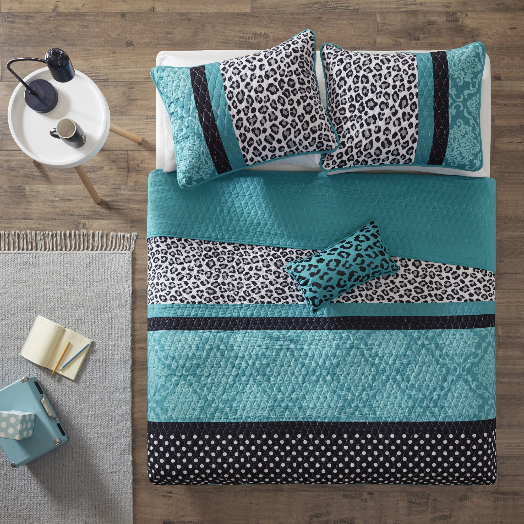 4 Piece Girls Teal Blue Leopard Print Coverlet Full Queen Set, Polka Dots Damask Bedding Animal Pattern Exotic Wild Safari Jungle Zoo Floral Pretty Colors Wilderness Cat White Dots Black, Polyester