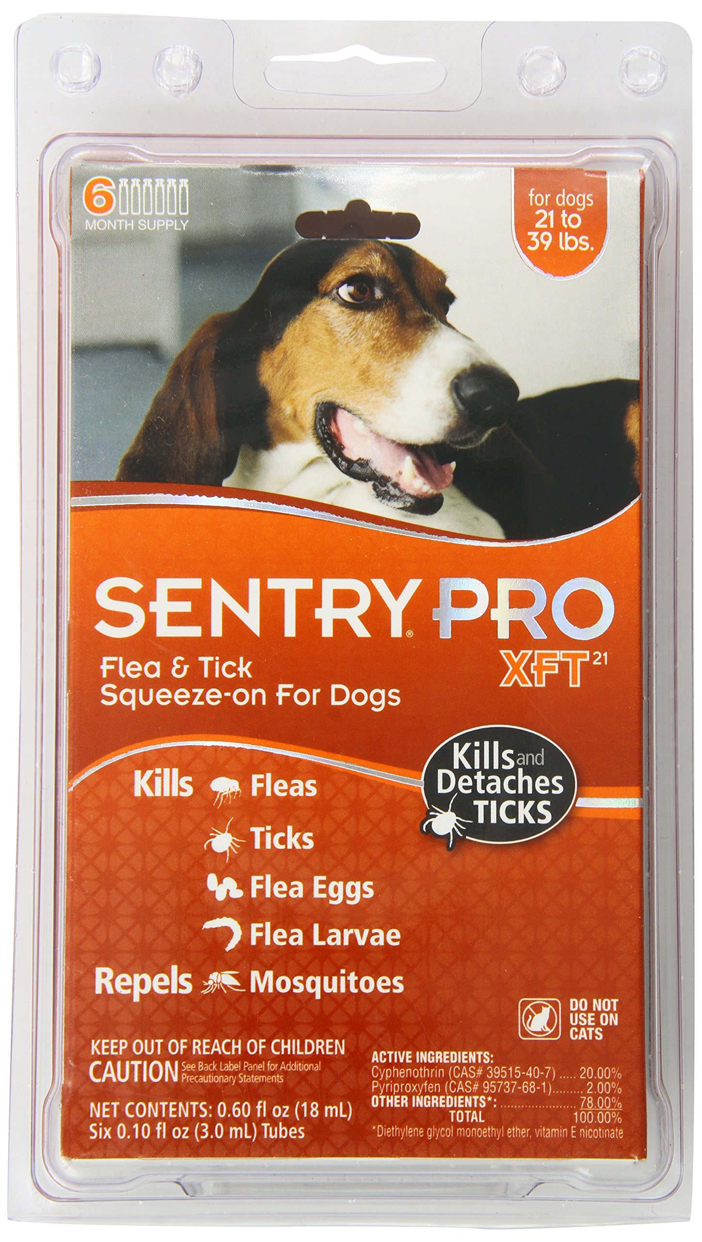 SENTRY PRO XFT 21 Flea and Tick Topical for Dogs, 21-39 lbs, 6 Month Supply