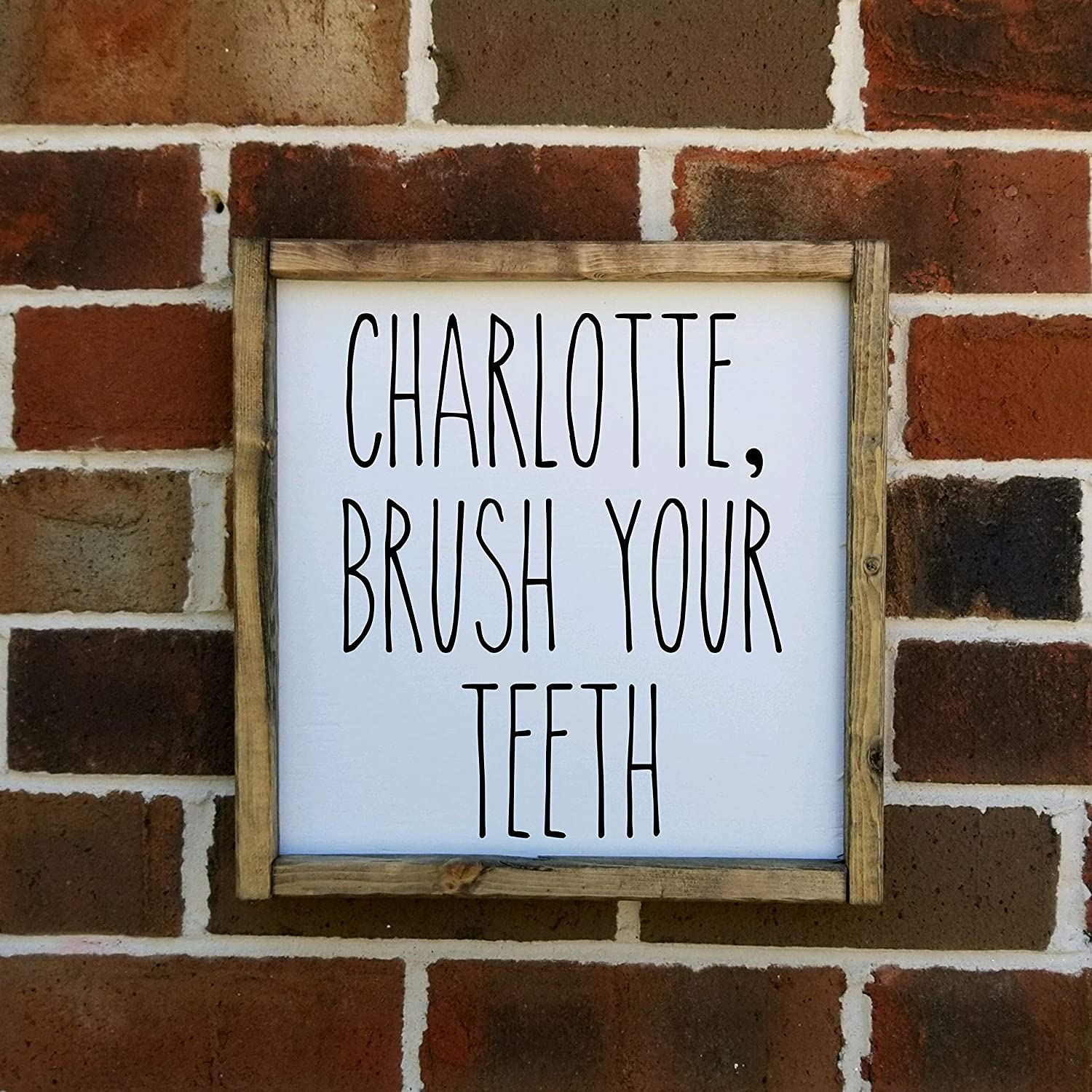 Personalized Brush Your Teeth Sign Farmhouse Style Framed Sign Multiple Sizes Available