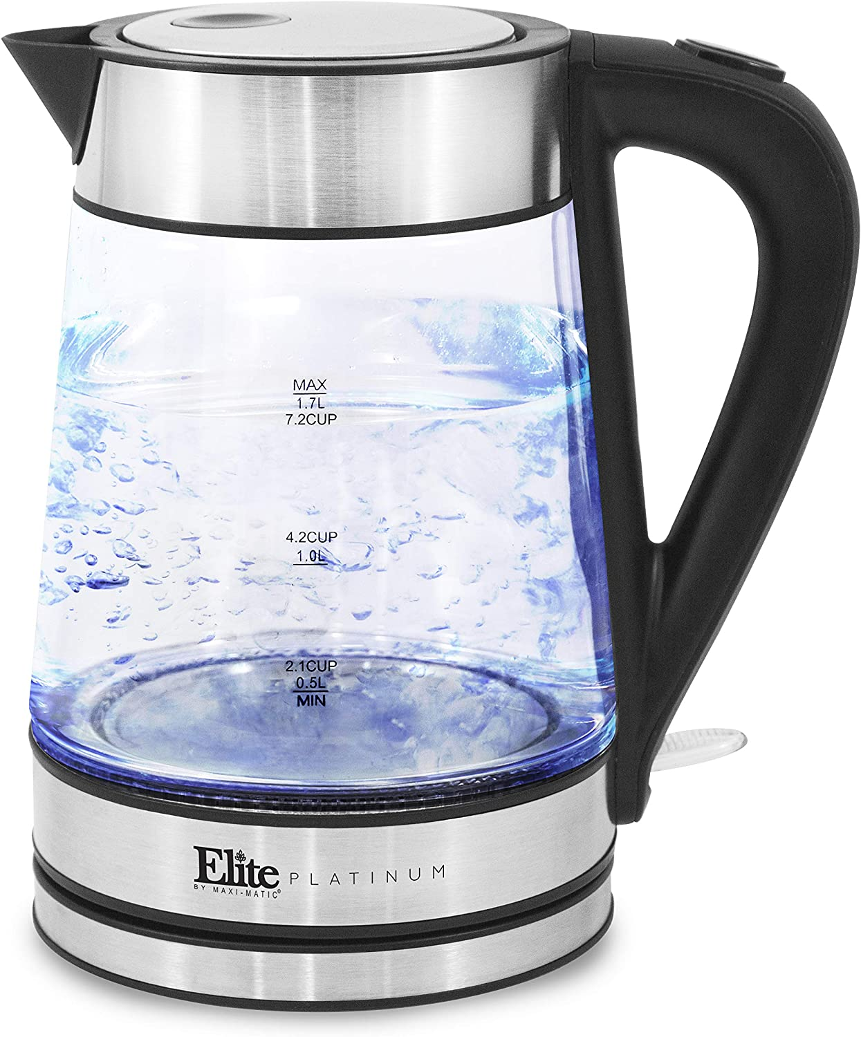 Elite Platinum EKT-602 Glass Electric Tea Kettle Hot Water Heater Boiler BPA-Free with with Blue LED Interior Fast Boil and Auto Shut-Off Strix Controller 1.7L Stainless Steel