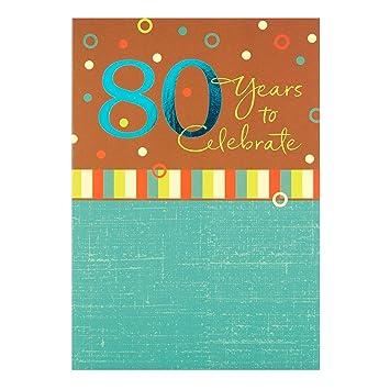 Amazon.com: 80th Cumpleaños Tarjeta por Hallmark – Tarjeta ...