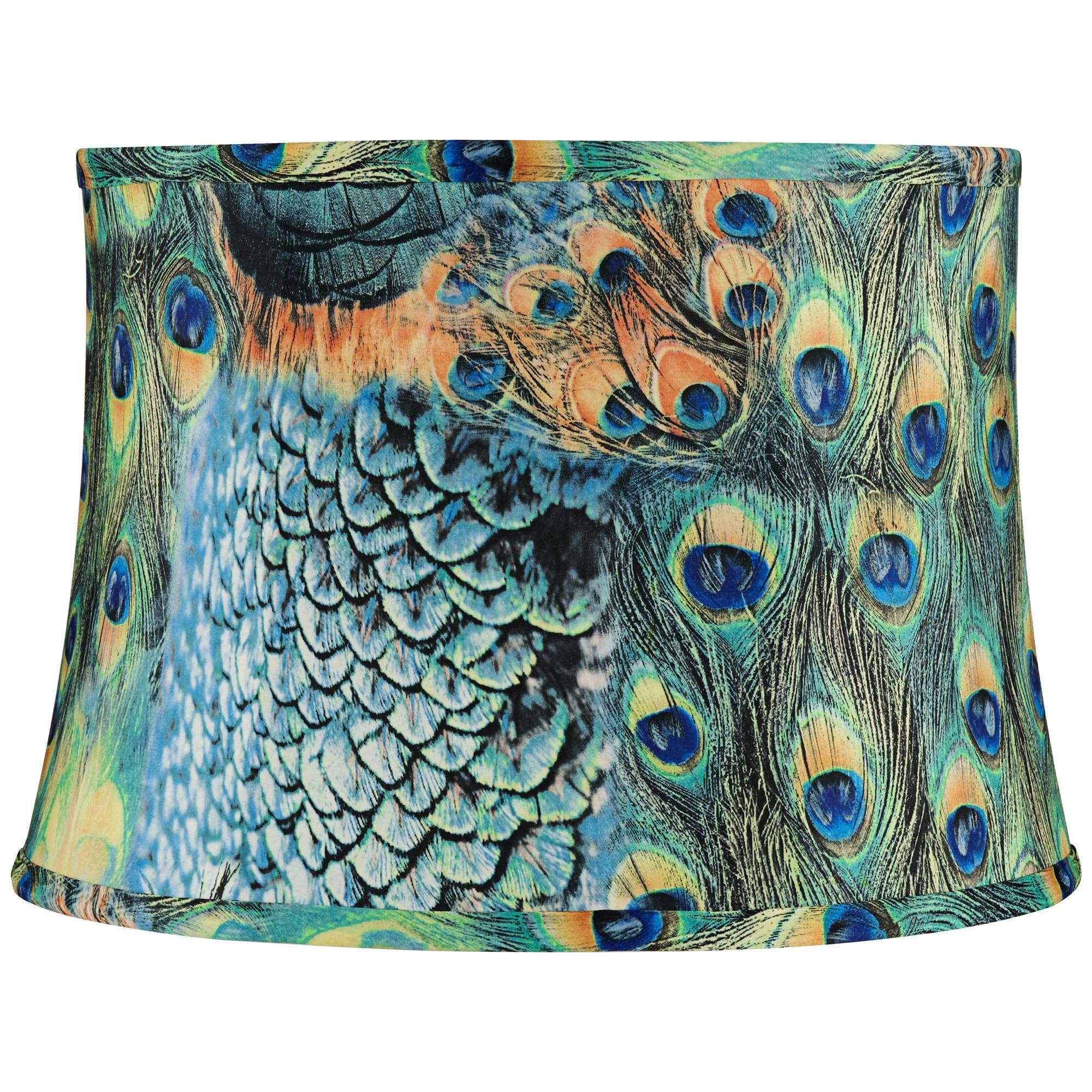 Peacock Drum Lamp Shade Cotton Fabric with Harp 14x16x11 (Spider) - Springcrest by Springcrest