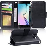 Arae Case Compatible for Samsung Galaxy S6 - [Wrist Strap] Flip Folio [Kickstand Feature] PU leather wallet case with ID&Cred