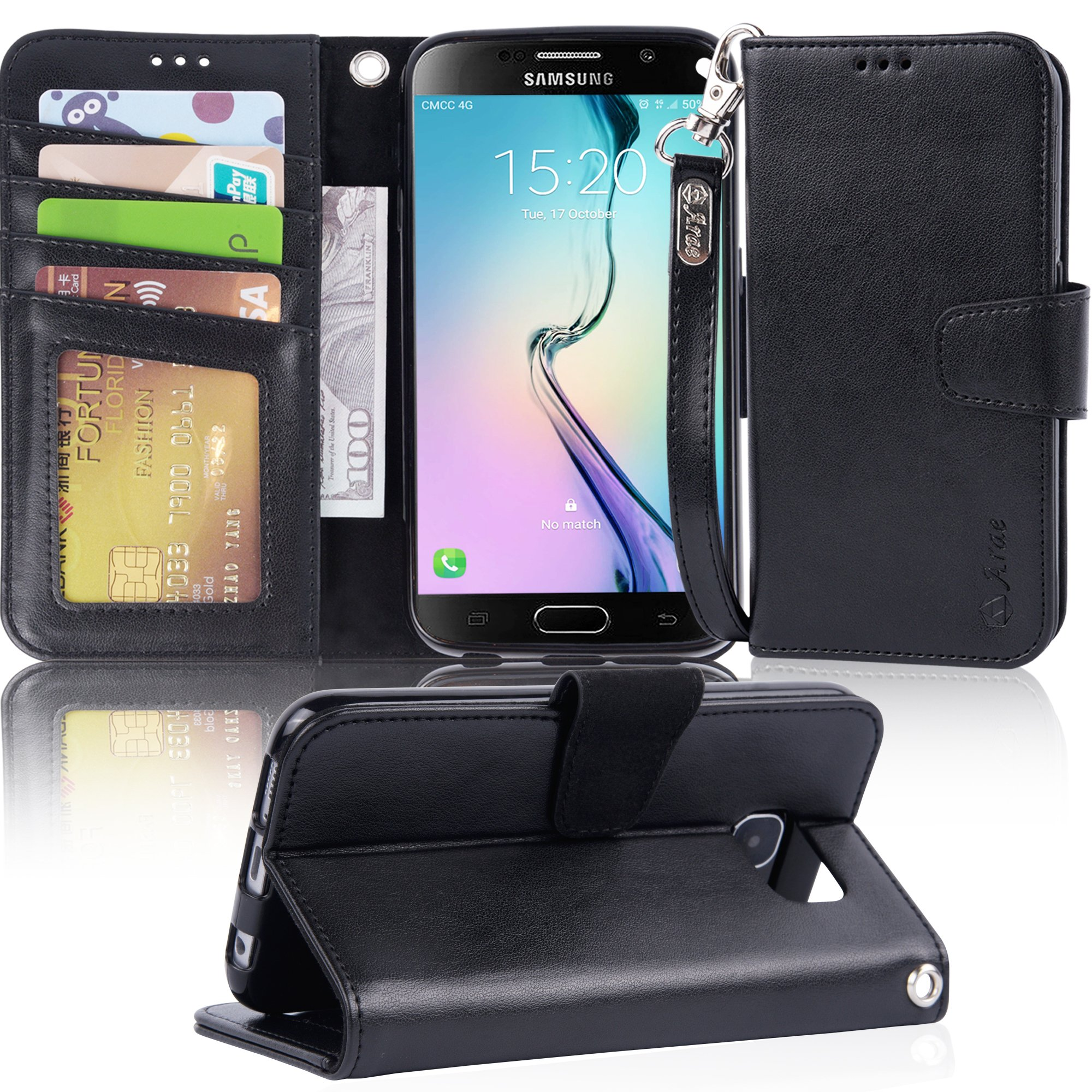 Arae Galaxy S6 Case, Samsung Galaxy S6 wallet case, [Wrist Strap] Flip Folio [Kickstand Feature] PU leather wallet case with ID&Credit Card Pockets For Samsung Galaxy S6 (Black)
