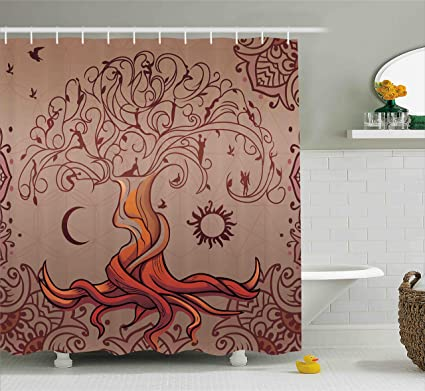 Ambesonne Ethnic Shower Curtain Vintage Tree Of Life With Sun And Moon Elf On Branches