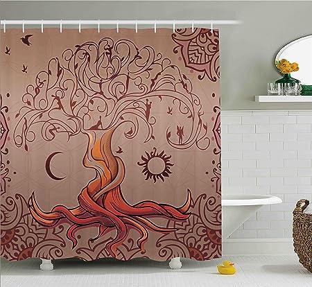 Amazon.com: Ambesonne Ethnic Shower Curtain, Vintage Tree of Life ...