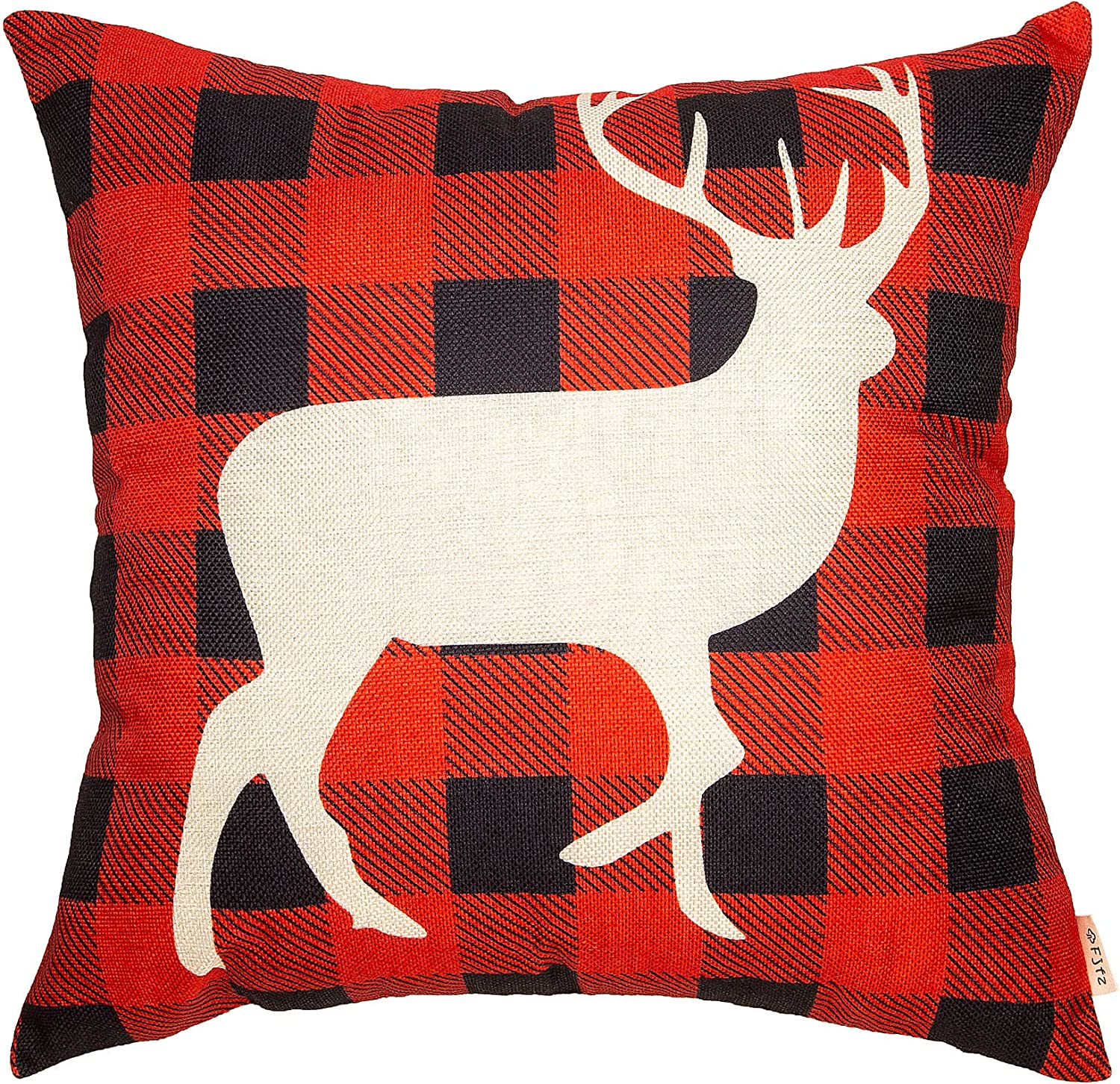 Fjfz Rustic Christmas Décor Winter Deer Scottish Buffalo Checkers Plaid Reindeer Farmhouse Decoration Gift Cotton Linen Home Decorative Throw Pillow Case Cushion Cover for Sofa Couch, 18