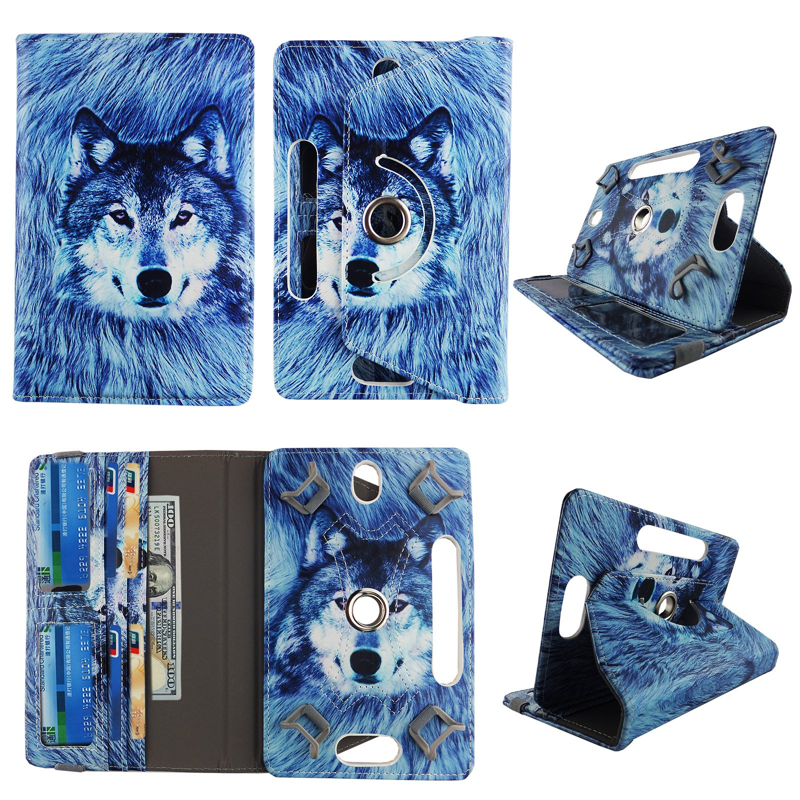 Snow Wolf tablet case 10 inch for Digiland 10.1 10'' 10 inch android tablet cases 360 rotating slim folio stand protector pu leather cover travel e-reader cash slots