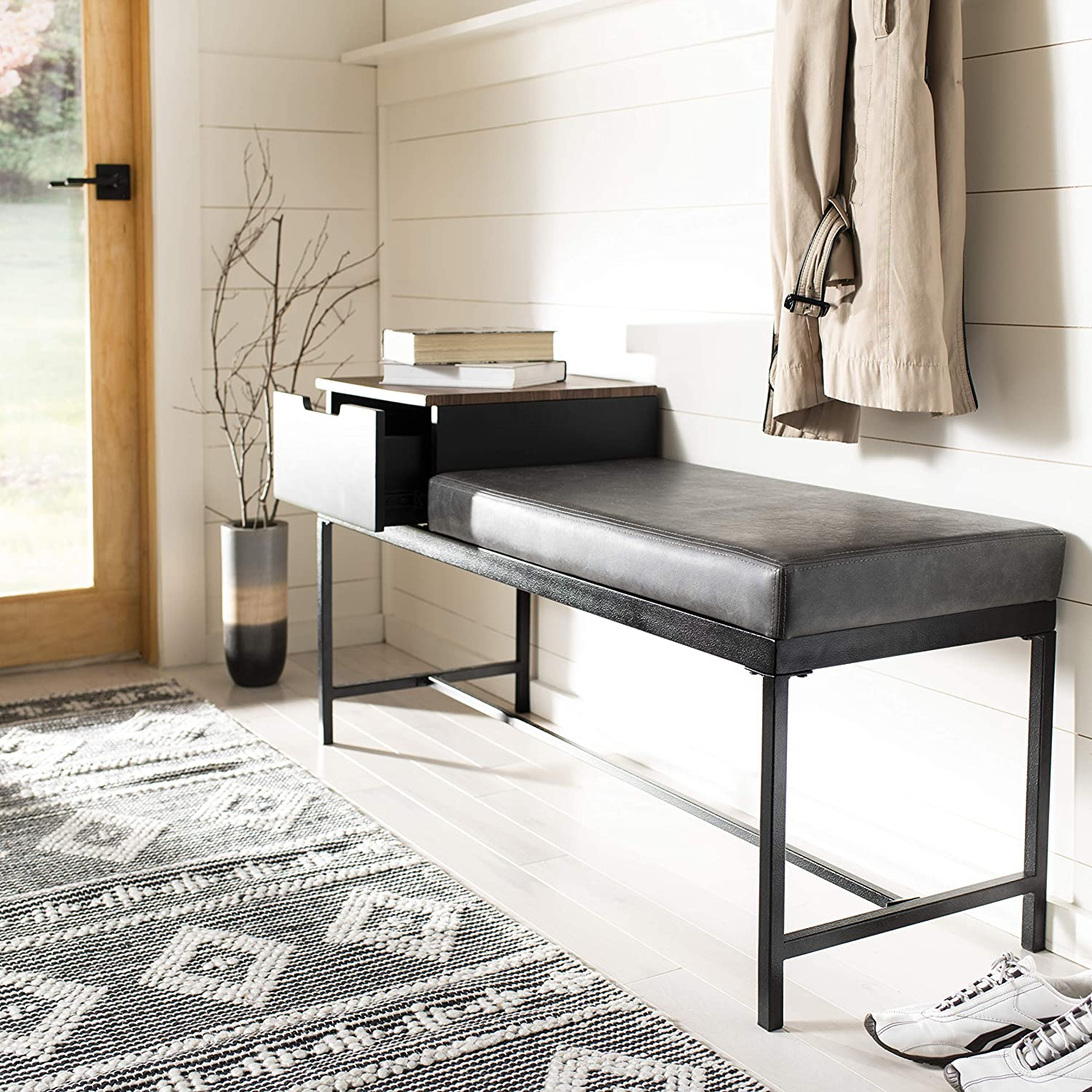 Safavieh Home Maruka 31-inch Brown and Grey Faux Leather Bench with Storage
