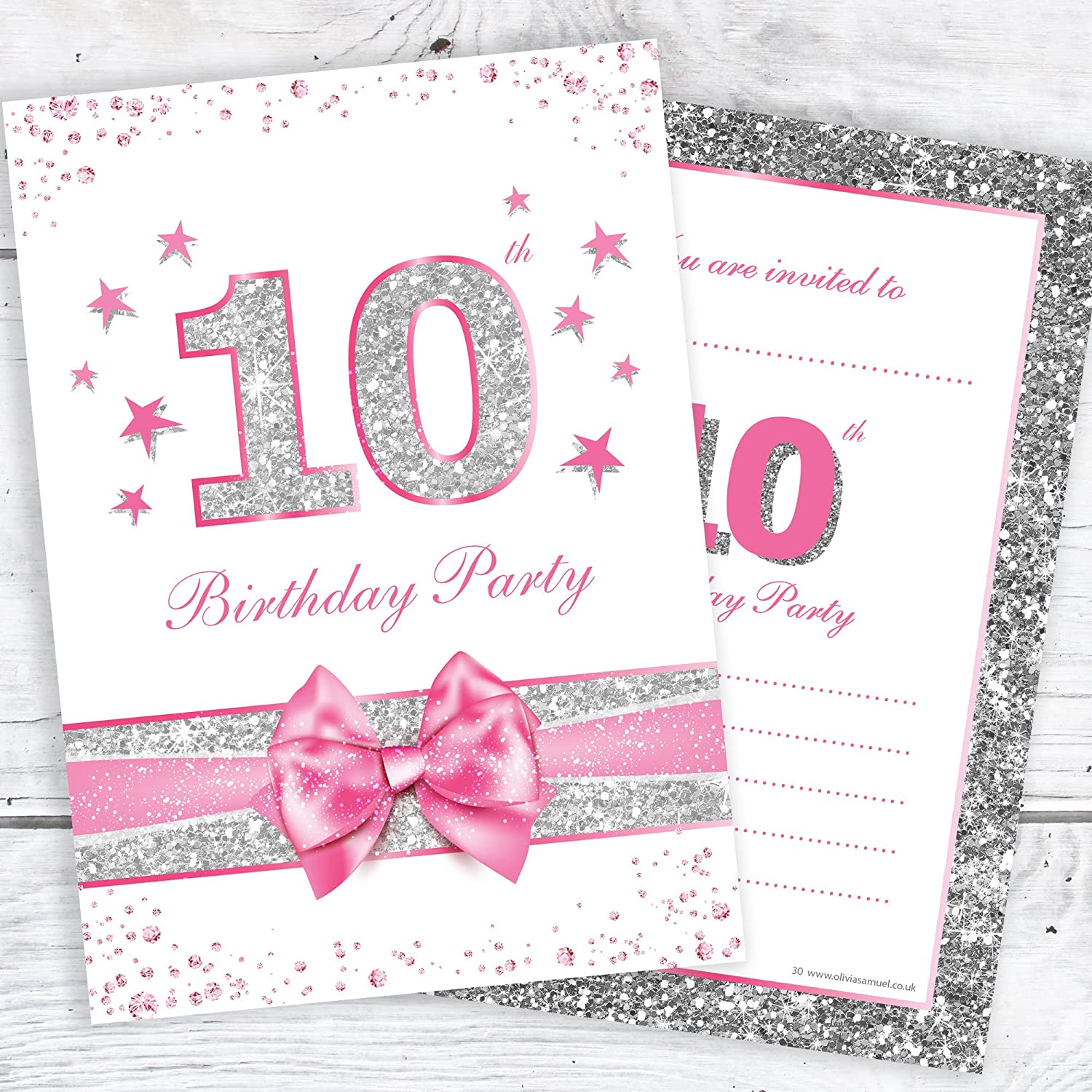5th Birthday Party Invitations - Pink Sparkly Design and Faux Silver  Glitter - A5 Postcard Size with envelopes (Pack of 5)