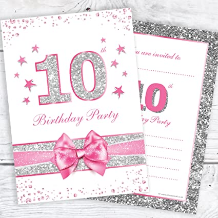 10th Birthday Party Invitations Pink Sparkly Design And Faux Silver Glitter A6 Postcard Size With Envelopes Pack Of 10
