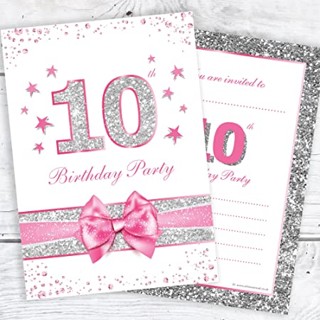 10th birthday party invitations pink sparkly design and faux 10th birthday party invitations pink sparkly design and faux silver glitter a6 postcard size filmwisefo