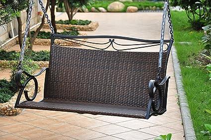 Amazon.com: Mimbre Resina/acero Patio Porche Swing: Jardín y ...