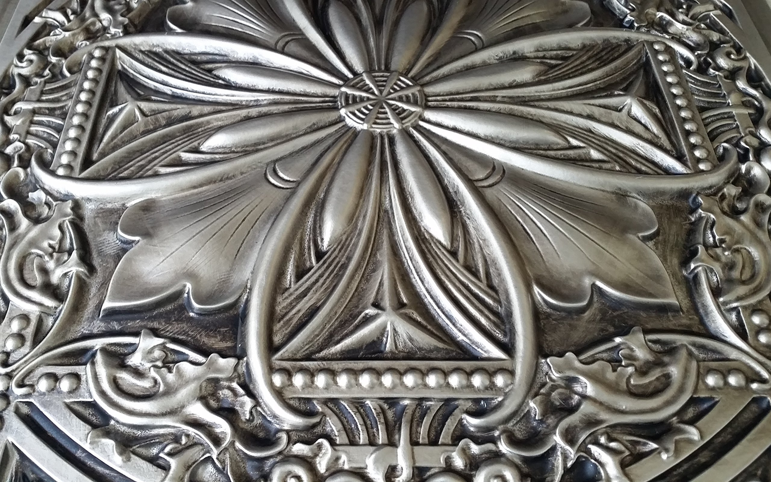 TalissaDecor Faux Tin Glue up/Drop in Ceiling Tile TD10 Aged Silver Pack of 10 2'X2' Tiles (~ 40 sq.ft). Easy to Install PVC Panels. Gorgeous Antique Vintage Look Ceiling. Great for DIY Backdrop. by TalissaDecor (Image #2)