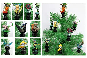 pokemon go 10 piece holiday christmas ornament set featuring various pokemon characters battling on pokemon gyms