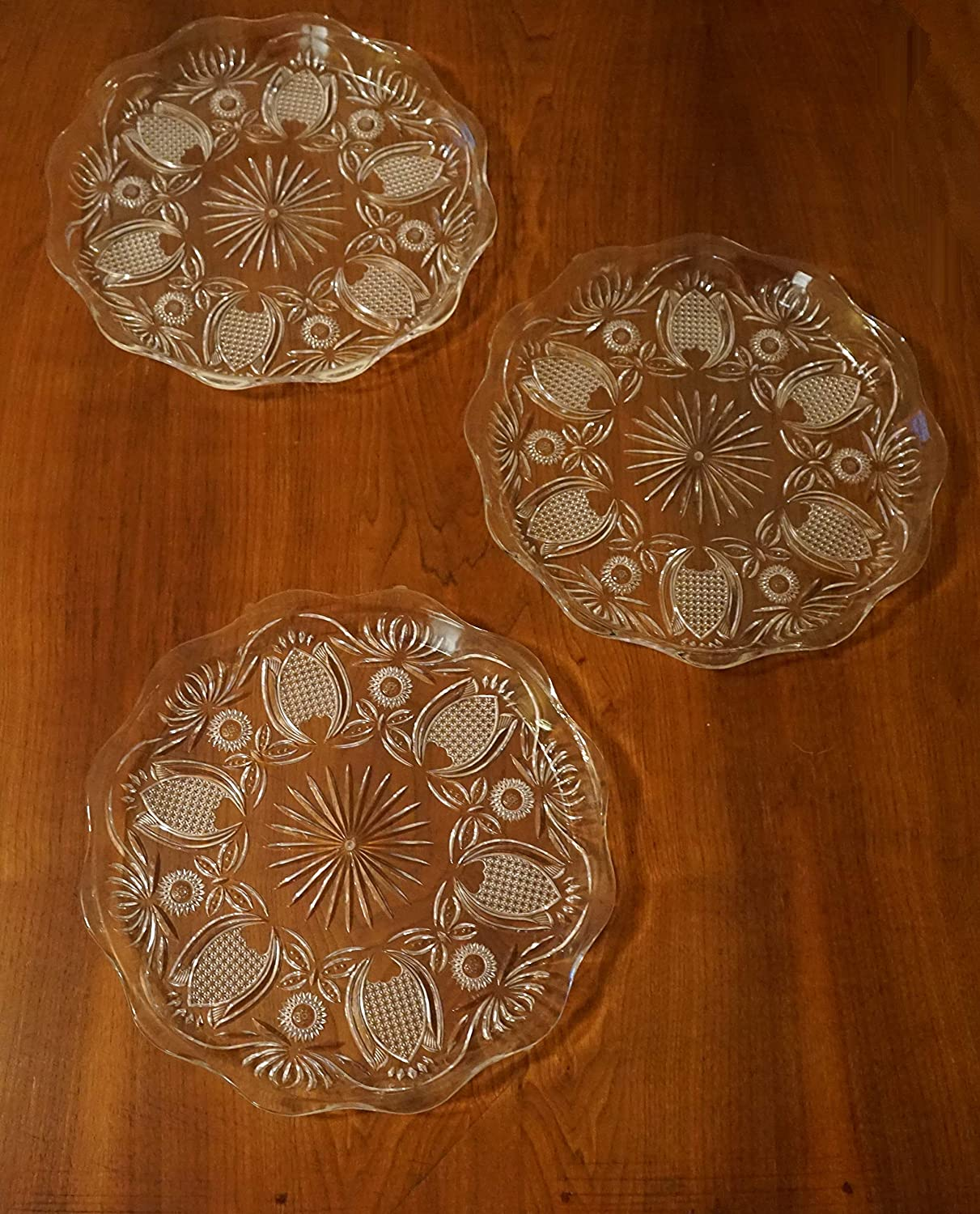 3 Pack Serving Platter Clear Plastic 14 Round
